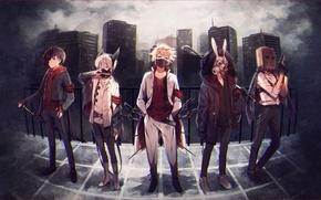 Обои лом, парни, аниме, город, ушки, меч, пакетик, маска, пистолет