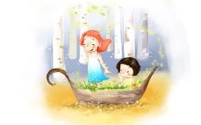 Обои радость, цветы, детство, ветер, лодка, рисунок, мальчик, платье, девочка, берёзы