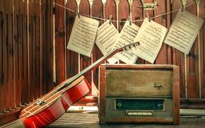 Картинка ноты, гитара, радио