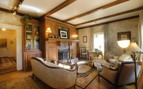 Картинка design, style, living room, interior, fireplace