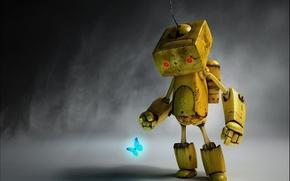 Обои Melancholy Robot, Paul Gogola, робот, бабочка