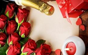 Картинка розы, красные, red, flowers, romantic, roses, with love