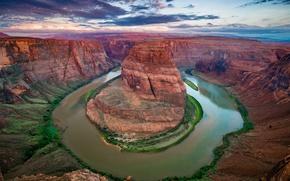 Картинка река, Колорадо, каньон, Аризона, США, штат, Подкова (Хорсшу-Бенд)