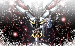Картинка оружие, девушки, робот, аниме, огоньки, лепестки, арт, мечи, меха, touhou, konpaku youmu, saigyouji yuyuko, super …
