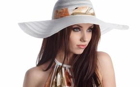 Картинка девушка, портрет, брюнетка, шляпка