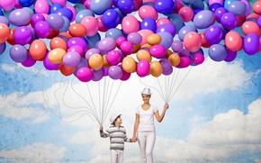 Картинка шарики, радость, счастье, воздушные шары, люди, colorful, happy, sky, people, balloons, family
