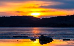 Картинка закат, река, Ангара