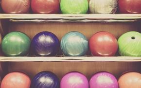 Картинка цвета, шары, полка, разные, боулинг, markus spiske