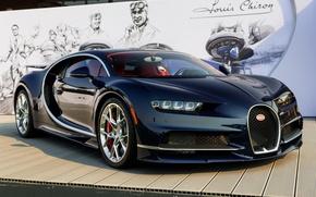 Картинка Bugatti, Dark, Carbon, Blue, Chiron