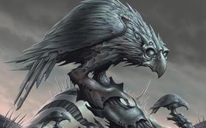 Картинка взгляд, фантастика, птица, камень, хищник, клюв, когти, статуя, орёл