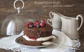 Картинка малина, еда, чашки, торт, пирожное, cake, крем, десерт, food, сладкое, chocolate, cream, dessert, cups, blueberries, …