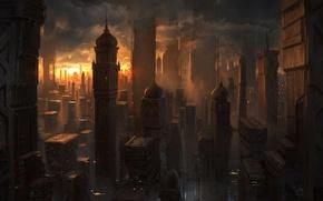 Обои закат, город, будущее, вечер, арт, индия, купол, мегаполис, Michal Kus