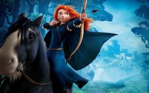 Картинка замок, конь, лук, езда, Brave, Merida, Мерида, Ангус