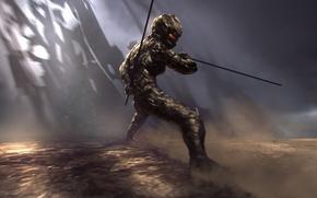 Картинка атака, меч, воин, костюм