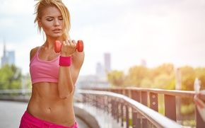 Обои dumbbell, workout, blonde