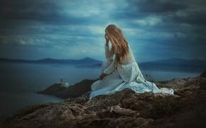 Картинка камень, TJ Drysdale, пейзаж, девушка, платье