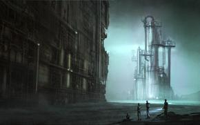 Картинка металл, трубы, люди, фантастика, завод, арт, установка, сооружиение