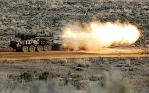 Картинка огонь, армия, выстрел, БТР