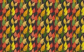 Картинка осень, листья, узор, разноцветный