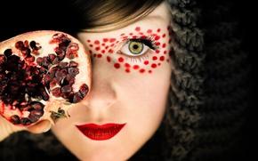 Картинка макияж, девочка, гранат, Pomegranate