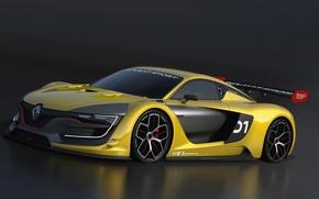 Картинка жёлтый, supercar, тёмный фон, Renault sport RS 01