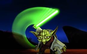 Обои меч, джедай, Star Wars: The Clone Wars, master yoda, Звездные войны: Войны клонов, магистр йода