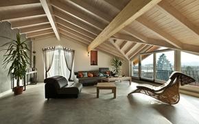 Картинка стулья, Интерьер, гостиная, living room, chairs, Interior, чердак, деревянное, Wooden, Loft, стильный дизайн, stylish Design, ...