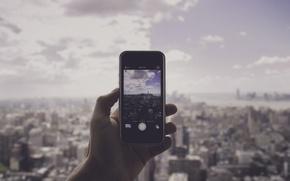 Картинка Манхэттен, панорама, OWTC, Нью-Йорк, рука, One World Trade Center, Соединенные Штаты, фотография, iPhone, небо, солнечный, ...