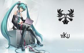 Картинка девушка, ноутбук, vocaloid, hatsune miku, сидит, длинные волосы, вокалоид, art, хатсуне мику