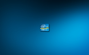 Картинка синий, фон, голубой, обои, цвет, логотип, logo, intel, blue, background, процессор, интел, core i7, cpu