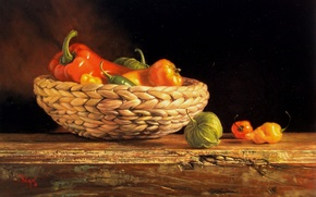 Картинка стол, корзина, рисунок, картина, натюрморт, овощи, репродукция, Kyle, Polzin