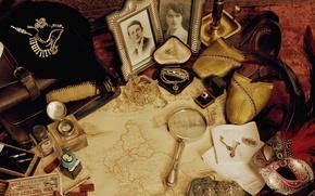 Картинка ретро, лупа, Vintage, украшения, туфли, фотографии, винтаж, карта