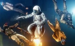 Картинка оружие, выстрел, фантастика, космонавт, пистолет