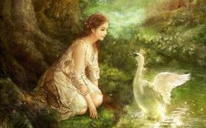 Картинка лес, цветы, ручей, масло, картина, корона, фэнтези, арт, лебедь, fantasy, forest, swan, принцесса, холст, South ...
