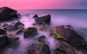 Картинка море, небо, водоросли, пейзаж, закат, камни, скалы, горизонт
