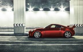 Картинка car, авто, red, тоннель, ниссан, tuning, nissan 350z