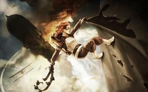 Картинка девушка, самолет, огонь, арт, дирижабль, пояс, битва, в небе