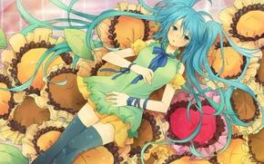 Обои девушка, подсолнухи, аниме, арт, vocaloid, hatsune miku, вокалоид, хатсуне мику, itonoko