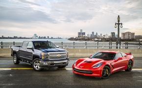Картинка фон, Corvette, Chevrolet, панорама, Шевроле, суперкар, пикап, Coupe, передок, and, Stingray, Корвет, Стингрей, Silverado, Сильверадо