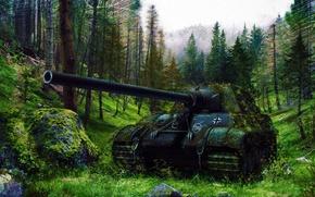 Картинка war, art, painting, tank, ww2, Jagdtiger