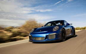 Картинка 911, Porsche, суперкар, порше, синяя, GT3
