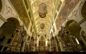 Картинка Австрия, церковь, фреска, религия, монастырь, роспись, Зальцбург, неф, аббатство Святого Петра