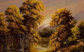 Картинка осень, небо, вода, деревья, пейзаж, птицы, река, обои, листва, картина, живопись, Ходюков