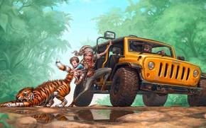 Картинка дорога, ребенок, семья, джунгли, арт, джип, лужи, тигренок, тирг, RedreevGeorge, тянет