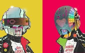 Картинка цвета, зомби, Daft Punk, шлемы, Дафт Панк