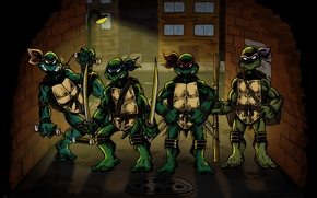 Картинка улица, стены, Рафаэль, TMNT, Raphael, Leonardo, люк, Donatello, Донателло, Леонардо, Микеланджело, Teenage Mutant Ninja Turtles, ...
