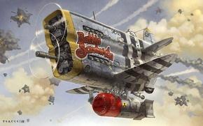 Картинка самолет, фантастика, art, воздушный бой, ядерная бомба, Christian Pearce, Butt-head, гротеск, Battle Sandwich