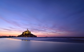 Картинка остров, Мон-Сен-Мишель, Mont Saint-Michel, France, Франция, гора Архангела Михаила, Нормандия, огни, Normandy, крепость, вечер, castle, ...