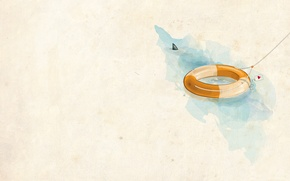 Обои вода, рисунок, минимализм, спасательный круг