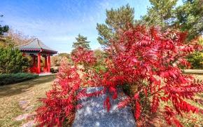Картинка осень, небо, листья, облака, камень, беседка, деревце, японский сад